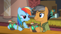 Size: 1920x1080 | Tagged: apple, drink, food, lidded eyes, quibble pants, rainbow dash, safe, screencap, stranger than fan fiction