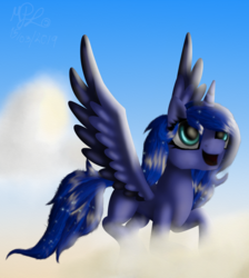 Size: 904x1010 | Tagged: alicorn, artist:lunarmoonponi, cloud, oc, oc:lunar moonie, pony, safe, sky, solo, wings