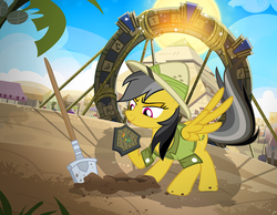 Size: 1000x774 | Tagged: archeologist, artist:pixelkitties, daring do, female, mare, pegasus, pony, prince hisan, pyramid, safe, shovel, solo, somnambula (location), stargate