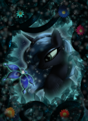 Size: 1041x1419 | Tagged: artist:lunarmoonponi, at night, flower, pony, princess luna, safe, solo