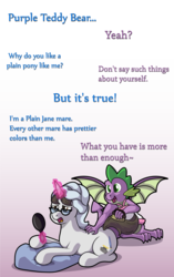 Size: 1728x2749 | Tagged: artist:moonlightfan, brush, comic, dragon, interspecies, mirror, pillow, raven, ravenspike, safe, shipping, spike, straight, unicorn, winged spike, wings