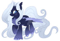 Size: 1600x1092 | Tagged: safe, artist:crystal-tranquility, oc, pegasus, pony, chest fluff, deviantart watermark, female, mare, obtrusive watermark, simple background, solo, transparent background, two toned wings, watermark