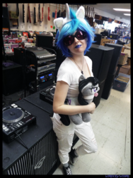 Size: 3456x4608 | Tagged: safe, artist:krazykari, dj pon-3, octavia melody, vinyl scratch, human, clothes, converse, cosplay, costume, irl, irl human, photo, plushie, shoes