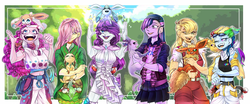 Size: 4251x1764 | Tagged: applejack, artist:schokocream, clothes, crossover, cute, eeveelutions, espeon, female, flareon, fluttershy, glaceon, human, humanized, jolteon, leafeon, mane six, pinkie pie, pokémon, rainbow dash, rarity, safe, smiling, sylveon, twilight sparkle