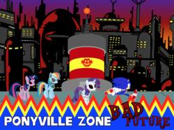 Size: 1023x766 | Tagged: safe, artist:4-chap, artist:raverkidd, artist:sonicdash759, rainbow dash, rarity, twilight sparkle, pony, robot, robot pony, bad future, crossover, metal dash, ponyville, raribot, roboticization, sonic cd, sonic the hedgehog, sonic the hedgehog (series), twibot