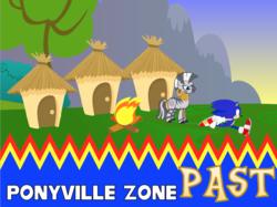 Size: 1024x767 | Tagged: safe, artist:4-chap, artist:rainbowderp98, artist:sonicdash759, artist:thebosscamacho, zecora, campfire, crossover, hut, past, ponyville, sonic cd, sonic the hedgehog, sonic the hedgehog (series)
