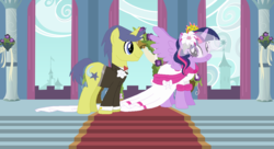 Size: 1211x660 | Tagged: safe, artist:3d4d, comet tail, twilight sparkle, alicorn, pony, clothes, cometlight, dress, female, flower, flower in hair, male, marriage, shipping, straight, twilight sparkle (alicorn), wedding, wedding dress