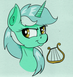 Size: 1325x1400 | Tagged: artist:paskanaakka, bust, derpibooru exclusive, ear fluff, female, lyra heartstrings, mare, nose wrinkle, pony, portrait, safe, smiling, smirk, solo, unicorn