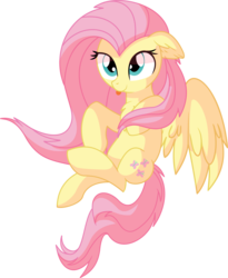 Size: 5657x6888 | Tagged: safe, artist:aureai-sketches, artist:cyanlightning, fluttershy, pegasus, pony, .svg available, :p, absurd resolution, chest fluff, cute, ear fluff, female, floppy ears, flying, mare, shyabetes, silly, simple background, smiling, solo, spread wings, tongue out, transparent background, vector, wings