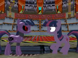 Size: 970x727 | Tagged: safe, artist:gale-kun, twilight sparkle, pony, robot, robot pony, unicorn, 3d, crossover, duality, mmd, roboticization, self ponidox, sonic the hedgehog (series), twibot, unicorn twilight