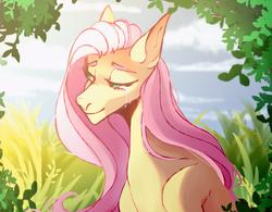 Size: 1280x996 | Tagged: safe, artist:velirenrey, fluttershy, pony, crying, female, leaves, lidded eyes, mare, smiling, solo, sunlight