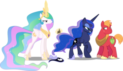 Size: 2280x1309 | Tagged: alicorn, annoyed, artist:cloudyglow, artist:irisiter, artist:rainbowderp98, artist:spacekingofspace, big macintosh, celestia is not amused, crown, earth pony, edit, editor:slayerbvc, female, flirting, hoof shoes, jewelry, lidded eyes, lunamac, magic, male, mare, not sure if want, peytral, pony, princess celestia, princess luna, regalia, royal sisters, safe, shipping, simple background, stallion, straight, transparent background, unamused, undressing, vector, vector edit