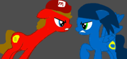 Size: 1024x477 | Tagged: artist:katierose45, artist:sakyas-bases, base used, cap, crossover, earth pony, hat, mario, mario and sonic, mario's hat, mario & sonic, nintendo, pegasus, ponified, pony, safe, sega, sonic the hedgehog, sonic the hedgehog (series), super mario bros.