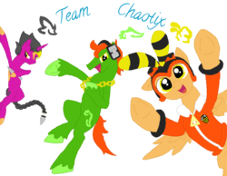 Size: 1024x794 | Tagged: artist:spqr21, charmy bee, deviantart muro, espio the chameleon, ponified, pony, safe, sonic the hedgehog (series), vector the crocodile