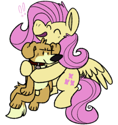 Size: 800x850 | Tagged: animal, artist:gamecyoob, dog, female, fluttershy, flying, hug, mare, pegasus, safe
