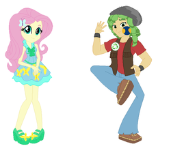 Size: 696x640 | Tagged: artist:cheerful9, equestria girls, fluttershy, safe, sandalshy, sandalwood, shipping, straight