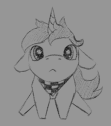 Size: 400x450 | Tagged: artist:stray prey, bandana, colt, gray background, grayscale, looking at you, male, monochrome, oc, oc:lucent, pony, puppy dog eyes, safe, simple background, sitting, solo, unicorn