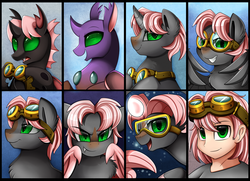 Size: 5284x3816 | Tagged: artist:pridark, bat pony, bat pony oc, bust, changedling, changeling, changeling oc, commission, earth pony, equestria girls, equestria girls-ified, green eyes, oc, oc only, one eye closed, open mouth, pegasus, pony, portrait, safe, seapony (g4), self paradox, smiling, unicorn, wink