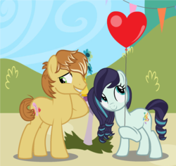 Size: 1516x1432 | Tagged: safe, artist:dark-ligth, coloratura, feather bangs, pony, balloon, base used, colorabangs, female, globe, male, shipping, straight