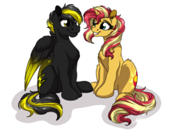 Size: 1920x1440 | Tagged: artist:lupiarts, cute, oc, pegasus, safe, sitting, smiling, sunset shimmer
