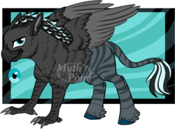 Size: 978x725 | Tagged: safe, artist:mythpony, oc, oc only, oc:token, classical hippogriff, hippogriff, hybrid, original species, zebra, zebragriff, hybrid oc, male, obtrusive watermark, solo, watermark