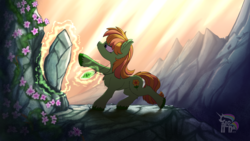 Size: 1440x810 | Tagged: safe, artist:calena, oc, oc only, earth pony, elemental, elemental pony, pony, commission, cutie mark, earth, flower, jewelry, magic, rock, scenery, serious, serious face, signature, solo, ych result