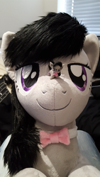 Size: 1836x3264   Tagged: safe, artist:qtpony, artist:tinyequine, octavia melody, pony, bowtie, cute, irl, looking at you, macro, micro, photo, plushie, self ponidox, size difference, tavibetes, tongue out