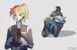 Size: 1983x1284 | Tagged: artist:tcn1205, equestria girls, female, helmet, looking at you, motorcycle, motorcycle helmet, rainbow dash, safe, solo