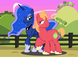 Size: 952x700 | Tagged: alicorn, artist:dark-ligth, big macintosh, duo, earth pony, female, looking at each other, lunamac, male, missing accessory, pony, princess luna, safe, shipping, straight