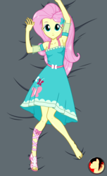 Size: 1517x2500 | Tagged: armpits, artist:rexpony, body pillow design, bronybait, clothes, cuddling-worthy, cute, dress, dress interior, equestria girls, equestria girls series, female, fluttershy, looking at you, safe, shyabetes, smiling, solo