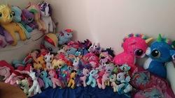 Size: 960x540 | Tagged: safe, artist:ponylover88, apple bloom, applejack, fluttershy, pinkie pie, princess cadance, princess celestia, princess luna, rainbow dash, rarity, scootaloo, sweetie belle, twilight sparkle, butterscotch, irl, jumbo size, photo, plushie