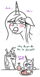 Size: 494x943 | Tagged: safe, artist:jargon scott, princess cadance, queen chrysalis, alicorn, changeling, changeling queen, pony, ahegao, bait and switch, blushing, comic, dialogue, drool, female, food, hot sauce, lidded eyes, mare, open mouth, panting, partial color, peetzer, pizza, runny nose, simple background, sweat, teary eyes, tongue out, white background