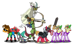 Size: 1164x742 | Tagged: safe, artist:purplewonderpower, big macintosh, cheese sandwich, discord, flam, flim, spike, draconequus, earth pony, pony, unicorn, dungeons and discords, armor, arrow, bow, cape, captain wuzz, clothes, costume, dungeons and dragons, facial hair, flim flam brothers, garbuncle, gouda knight, guys night out, mask, moustache, ogres and oubliettes, race swap, sir mcbiggen, staff, sword, twins, unicorn big mac, weapon, wonder twins