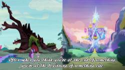 Size: 1280x720   Tagged: safe, artist:mylittlenanaki, edit, edited screencap, screencap, spike, twilight sparkle, alicorn, castle sweet castle, golden oaks library, heartwarming, mister rogers, positive ponies, quote, truth, twilight sparkle (alicorn), twilight's castle