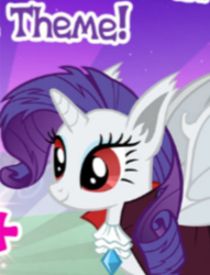 Size: 399x522 | Tagged: alicorn, alicornified, bat ponified, bat pony, bat pony alicorn, gameloft, idw, idw showified, meme, race swap, raribat, raricorn, rarity, red eyes, safe, spoiler:comic, wow! glimmer