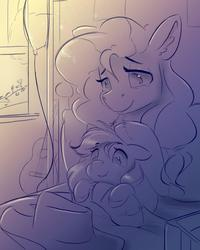 Size: 960x1200   Tagged: safe, artist:ardail, applejack, pear butter, earth pony, pony, bed, bedroom, blanket, cowboy hat, cute, duo, duo female, ear fluff, feels, female, filly, grayscale, guitar, hat, hug, mare, monochrome, mother and daughter, petting, sketch, stetson, window