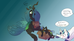 Size: 2560x1440 | Tagged: artist:fuzzypones, blushing, changeling, colored, cute, cuteling, female, free hugs, implied infidelity, implied princess cadance, implied shining chrysalis, implied shipping, implied straight, male, offspring, pony, queen chrysalis, safe, shining armor, sign, simple background, speech bubble, text, unicorn, villian, weapons-grade cute