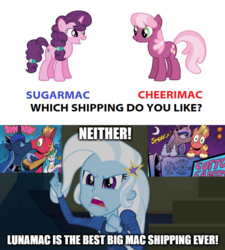 Size: 1280x1424 | Tagged: big macintosh, cheerilee, cheerimac, edit, edited screencap, equestria girls, female, idw, image macro, kissing, kiss on the cheek, kiss on the lips, lunamac, male, meme, mouthpiece, princess luna, rainbow rocks, safe, screencap, shipping, spoiler:comic, straight, sugar belle, sugarmac, take a third option, trixie, trixie yells at everything