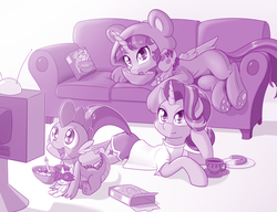 Size: 1920x1478 | Tagged: safe, artist:dstears, princess celestia, radiance, smarty pants, spike, starlight glimmer, twilight sparkle, alicorn, dragon, pony, unicorn, baby, baby dragon, bowl, box, cereal, cereal box, clothes, costume, couch, cup, cute, cutie mark, donut, drink, family, female, food, gem, glimmerbetes, kigurumi, male, open mouth, pajamas, plate, plushie, power ponies, prone, rarity plushie, saturday morning cartoon, shirt, shorts, smiling, spikabetes, tea, teacup, television, trio, twiabetes, twilight sparkle (alicorn), watching