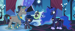 Size: 2961x1237 | Tagged: alicorn, artist:velveagicsentryyt, baby, baby pony, female, filly, good king sombra, king sombra, lumbra, magic, oc, oc:moonlight moon, oc:moonlight sonata, offspring, parent:king sombra, parent:princess luna, parents:lumbra, pony, princess luna, safe, shipping, straight