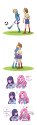 Size: 1096x3660 | Tagged: safe, artist:dcon, applejack, pinkie pie, rainbow dash, twilight sparkle, equestria girls, equestria girls (movie), appledash, applejack's hat, ball, blushing, boots, bow, bowtie, clothes, comic, compression shorts, cowboy hat, denim skirt, dialogue, exclamation point, female, football, freckles, grass, hat, heart, hug, implied kissing, kicking, lesbian, omg, open mouth, parody, pointing, scene parody, shipping, shirt, shoes, shorts, simple background, skirt, smiling, sports, stetson, watching, white background, wristband