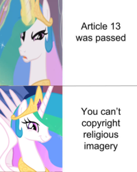 Size: 575x719 | Tagged: safe, edit, edited screencap, screencap, princess celestia, pony, the crystal empire, the return of harmony, :t, angry, article 13, copyright, discussion in the comments, european union, faic, loophole, meme, politics in the comments, smiling, smirk, spread wings, twiface, wings