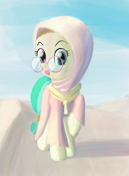 Size: 1400x1900 | Tagged: artist:tehwatever, background pony, clip studio paint, clothes, desert, desert flower, digital painting, earth pony, female, glasses, hijab, looking at you, mare, meganekko, pony, robe, safe, sand, shadow, sky, smiling, solo, somnambula resident