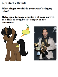 Size: 781x1023 | Tagged: artist:duskthebatpack, luis fonsi, oc, oc:marrón, pony, question, safe