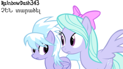 Size: 6000x3373 | Tagged: absurd res, armenian, artist:yourfavoritesenpai, cloudchaser, female, flitter, pony, safe, simple background, sisters, transparent background