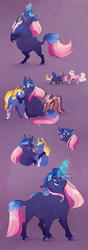Size: 600x1698 | Tagged: safe, artist:vindhov, oc, oc only, oc:love letter, oc:marigold twinkle, oc:moxie fizzlepop, hybrid, pony, unicorn, yakony, bracelet, coat markings, colored hooves, facial markings, female, friendship, glowing horn, interspecies offspring, jewelry, long description, magic, magical lesbian spawn, mare, microphone, missing cutie mark, next generation, offspring, parent:prince rutherford, parent:starlight glimmer, parent:sunburst, parent:tempest shadow, parent:trixie, parent:twilight sparkle, parents:tempestrix, parents:twiburst, parents:twiford, purple background, realistic horse legs, rearing, simple background, singer, singing, snip (coat marking), socks (coat markings), telekinesis