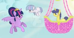 Size: 1280x660 | Tagged: safe, artist:star-gaze-pony, comet tail, twilight sparkle, oc, oc:nebular star, alicorn, pegasus, pony, cometlight, deviantart, female, filly, hot air balloon, male, obtrusive watermark, offspring, parent:comet tail, parent:twilight sparkle, parents:cometlight, shipping, straight, twilight sparkle (alicorn), twinkling balloon, watermark