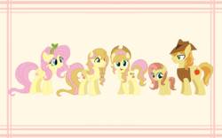 Size: 1920x1200 | Tagged: alternate hairstyle, artist:michellminor, base used, blank flank, braeburn, braeshy, cowboy hat, earth pony, family, female, filly, fluttershy, hat, male, mare, oc, oc:apple seed, oc:gala, oc:golden apple, offspring, parent:braeburn, parent:fluttershy, parents:braeshy, pegasus, safe, shipping, stallion, stetson, straight