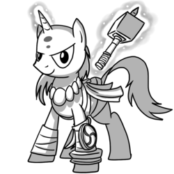 Size: 970x971 | Tagged: artist:petirep, bald, bandage, buck legacy, card art, cleric, clothes, determined, fantasy class, grayscale, hammer, jewelry, levitation, looking at you, magic, magic aura, male, monk, monochrome, necklace, oc, oc only, pony, safe, simple background, solo, stallion, telekinesis, transparent background, unicorn