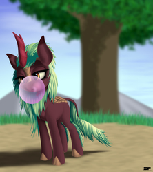 Size: 2400x2700 | Tagged: safe, artist:styroponyworks, cinder glow, summer flare, kirin, sounds of silence, background kirin, blowing, bubblegum, female, food, gum, open mouth, solo, tree